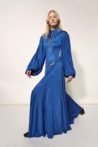 Ellery Puff Sleeve Dress in Blue Fall 19 RTW