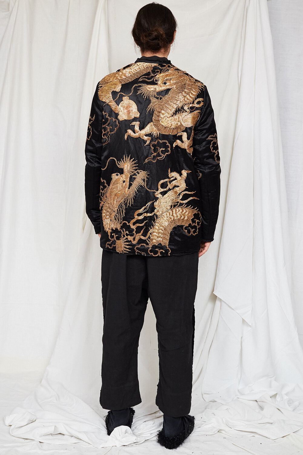 By Walid Campaign Miro Dragon Embroidered Cardigan in Black AW20