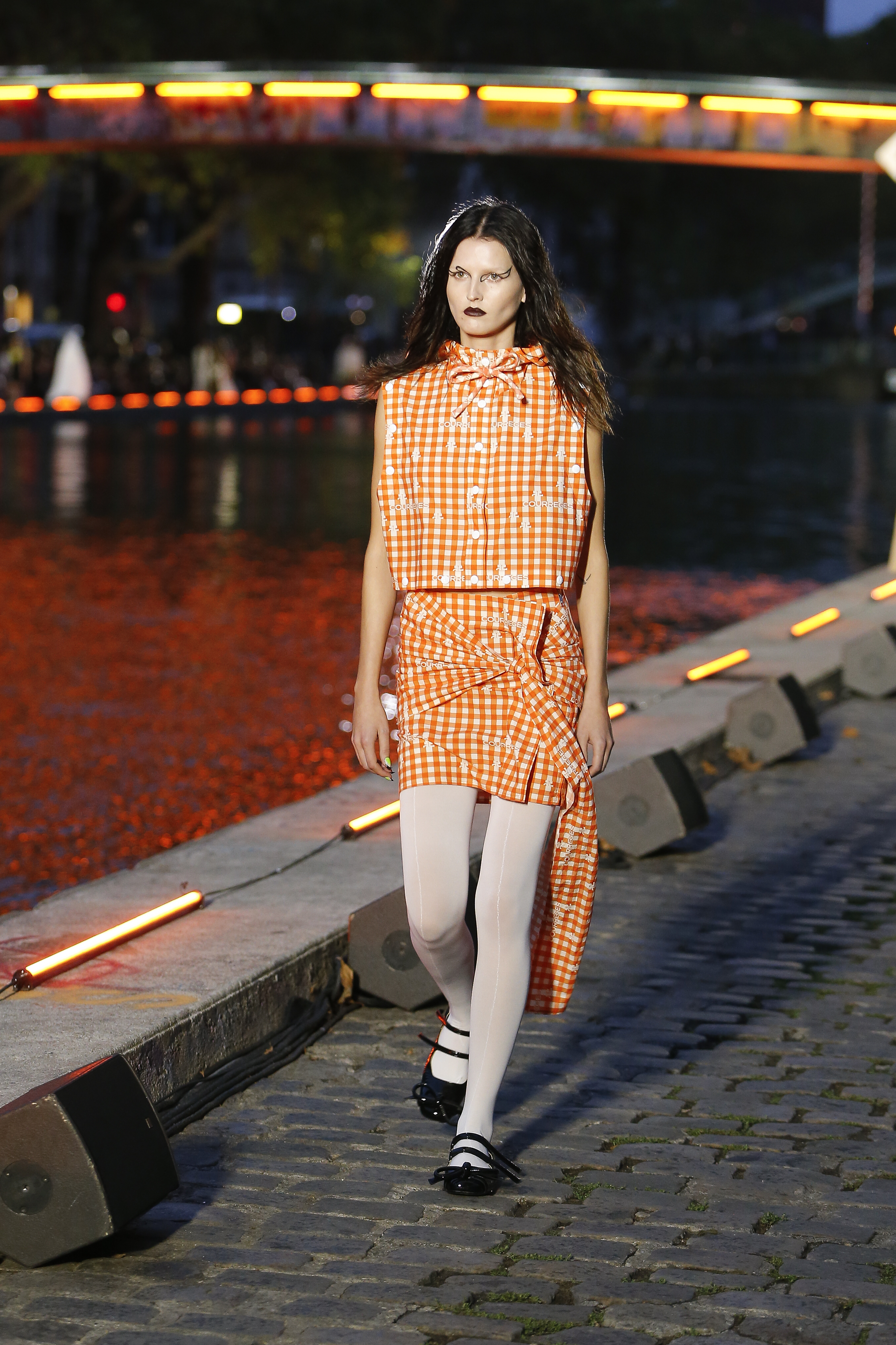 Courreges Runway Hooded Sleeveless Top in Orange Combining Logo Vichy Print Vichy Draped Skirt in Orange SS20