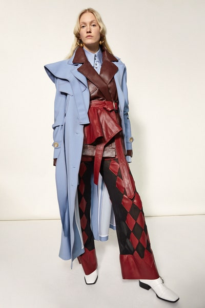 Ellery Oversized Trench Coat in Blue Faux Leather Belted Jacket Sheer Faux Leather Trim Flared Pants Fall 19 RTW