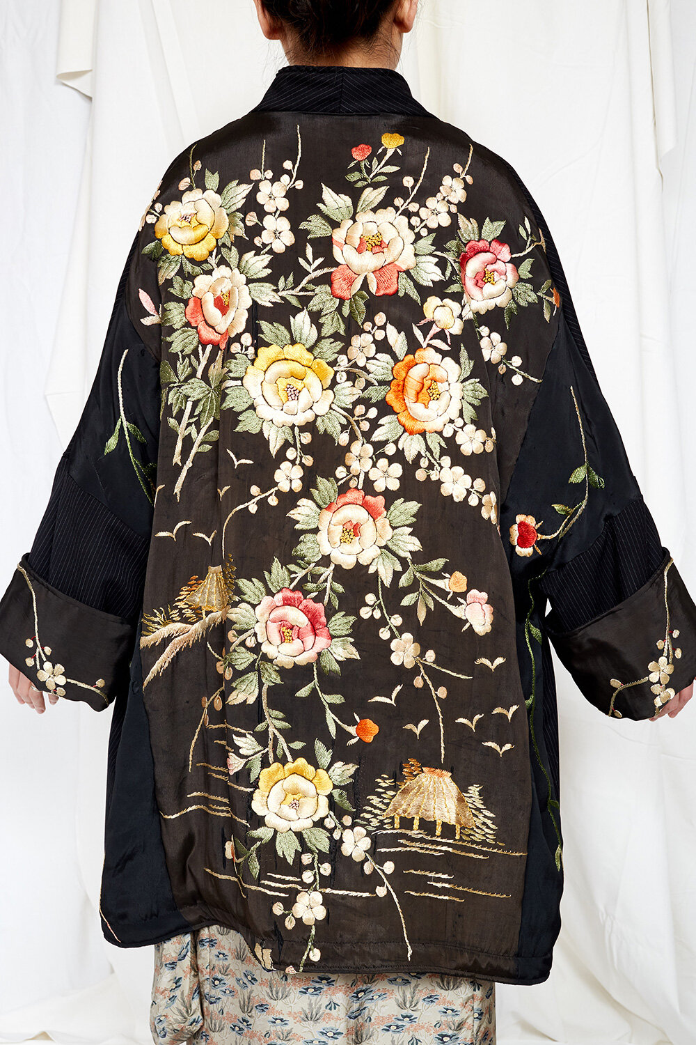 By Walid Womenswear Piano Shawl Floral Embroidered Silk Coat in Black AW20