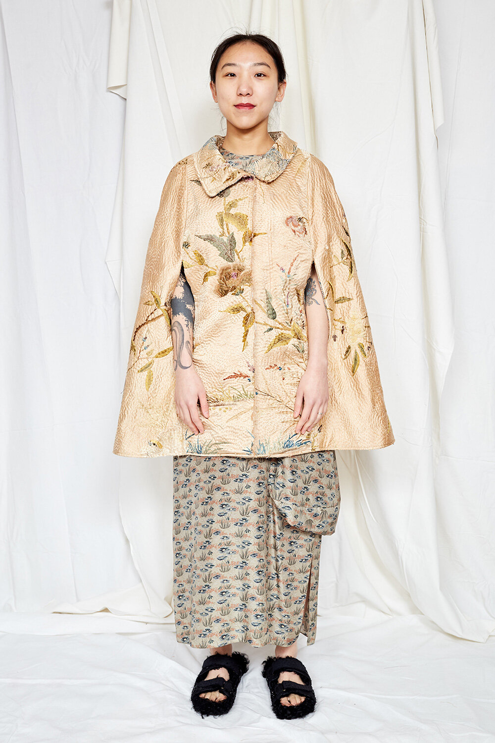 By Walid Womenswear Embroidered Cloak in Gold AW20