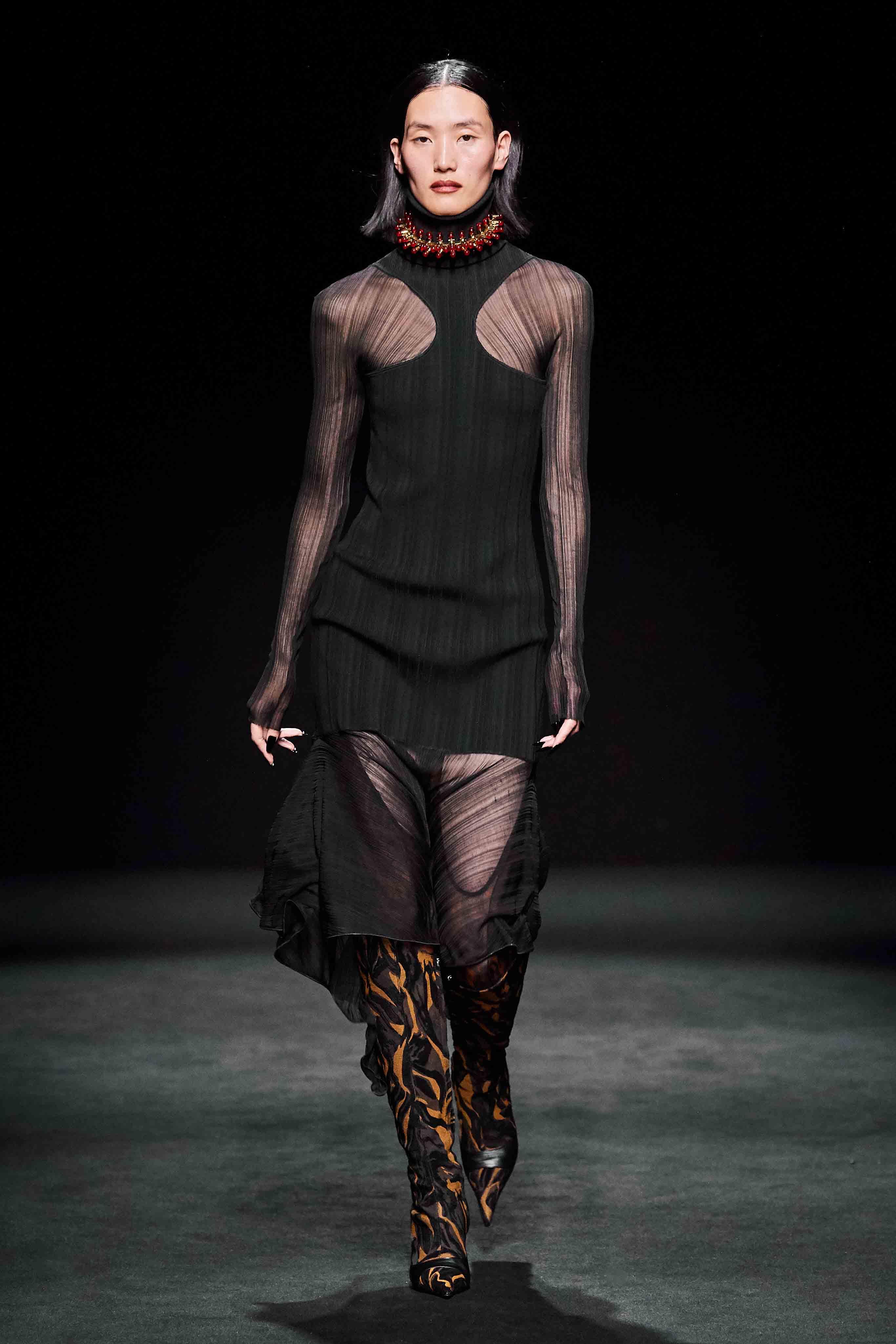 Mugler Runway Turtleneck Cutout Sheer Dress Fall 20