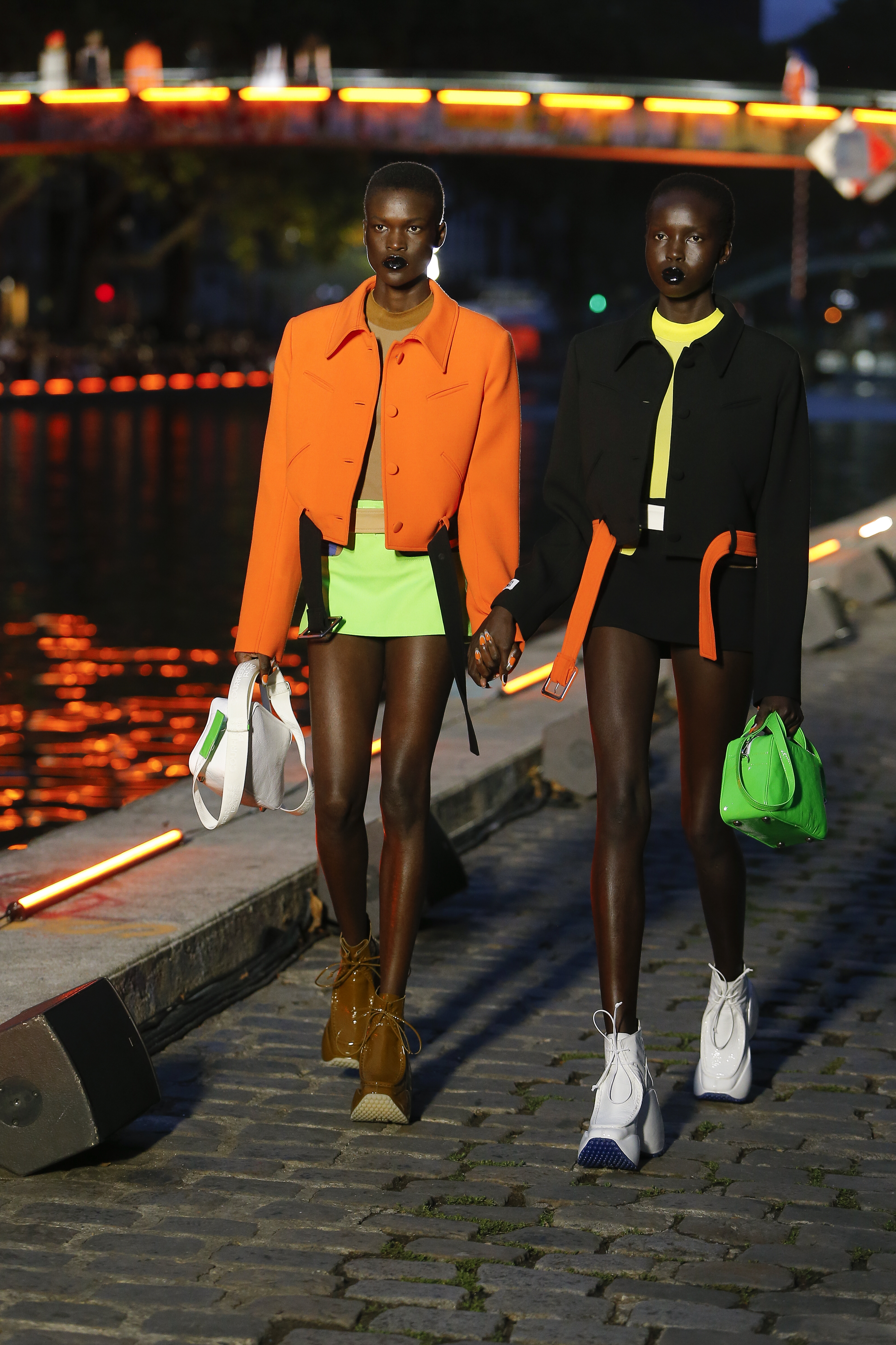 Courreges Runway Short Contrast Belted Jacket in Orange Mini Skirt in Lime Green Short Contrast Belted Jacket in Black Mini Skirt in Black SS20
