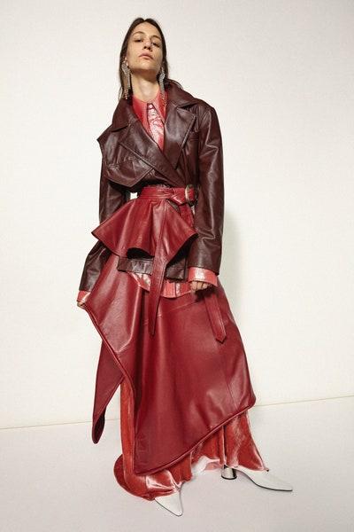 Ellery Oversized Faux Leather Belted Coat Fall 19 RTW