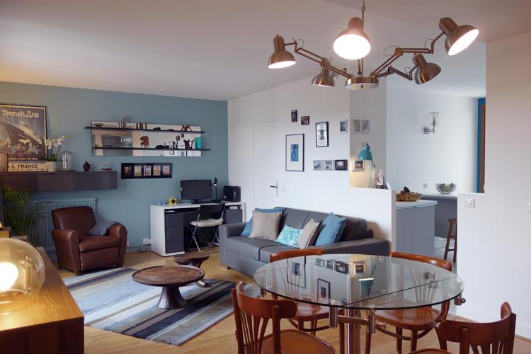 Design Singulier, architecture d'intérieur, séjour bleu