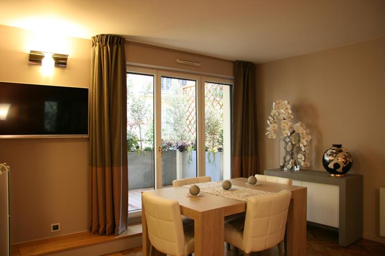 Design Singulier, Architecture d'intérieur, rideaux taupe bicolores