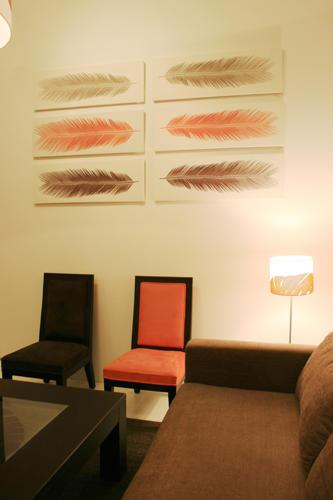 Design Singulier, architecture d'intérieur, séjour orange