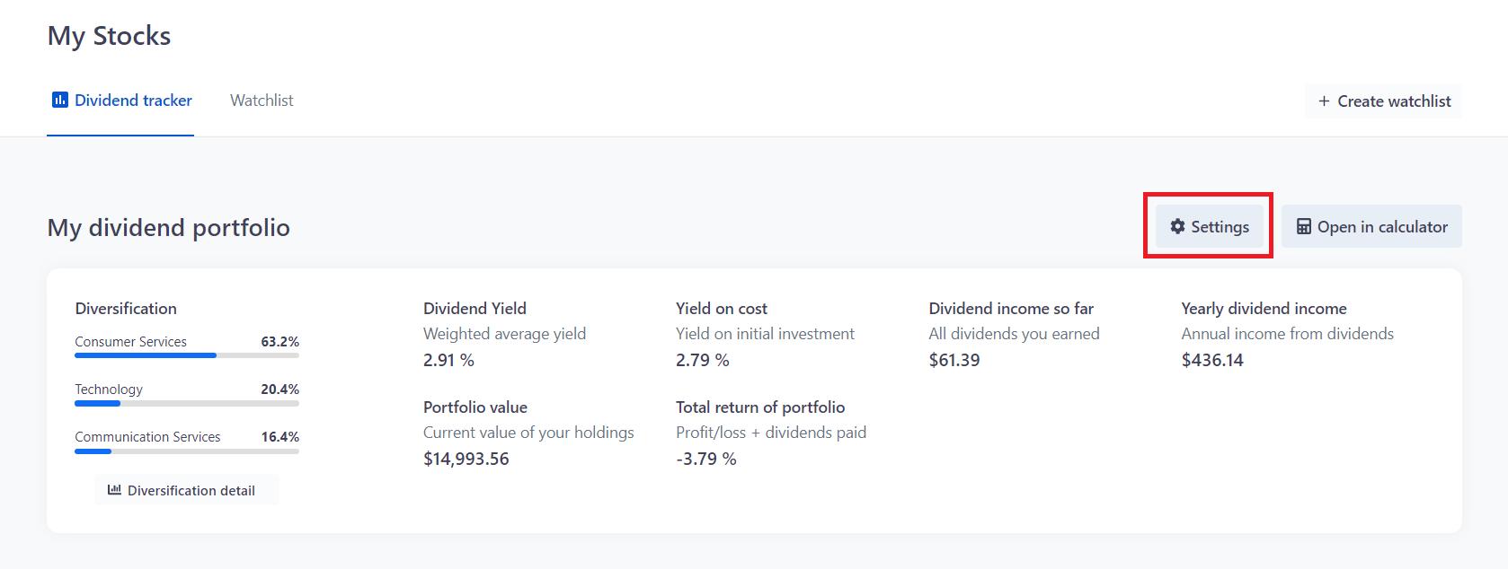 Dividend portfolio - Settings button