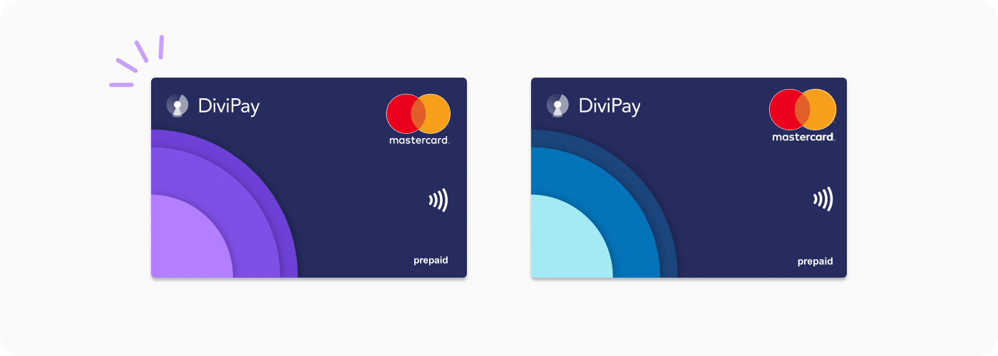 DiviPay virtual cards in purple and blue