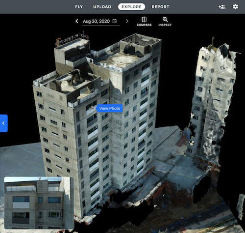 After flying with DroneDeploy's Vertical Flight, users can upload data to product high-resolution 3D models to conduct facade inspections.