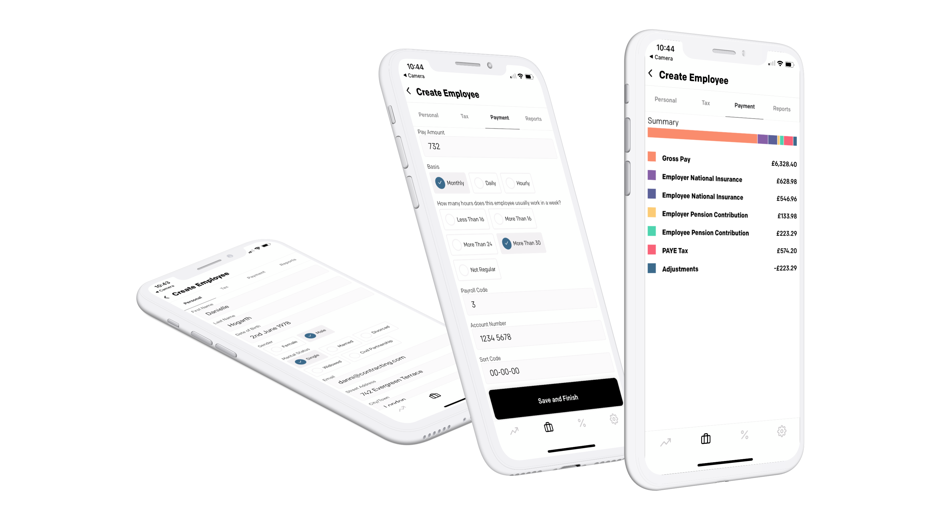 Payroll screens on multiple devices