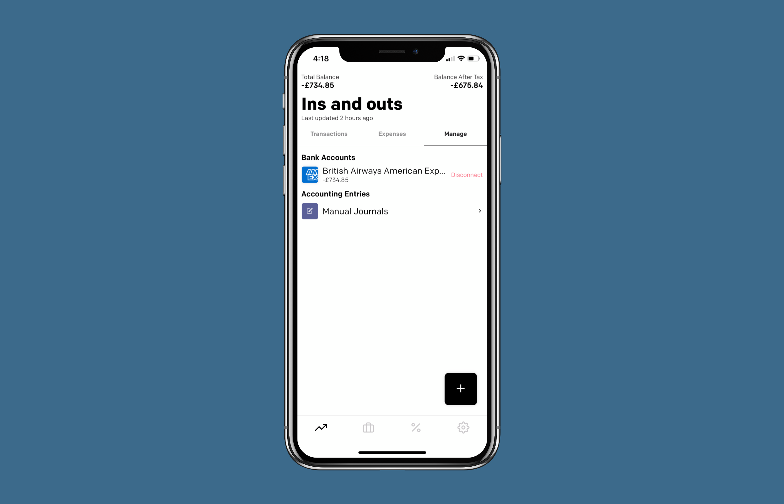 Manual journal call to action screenshot in app