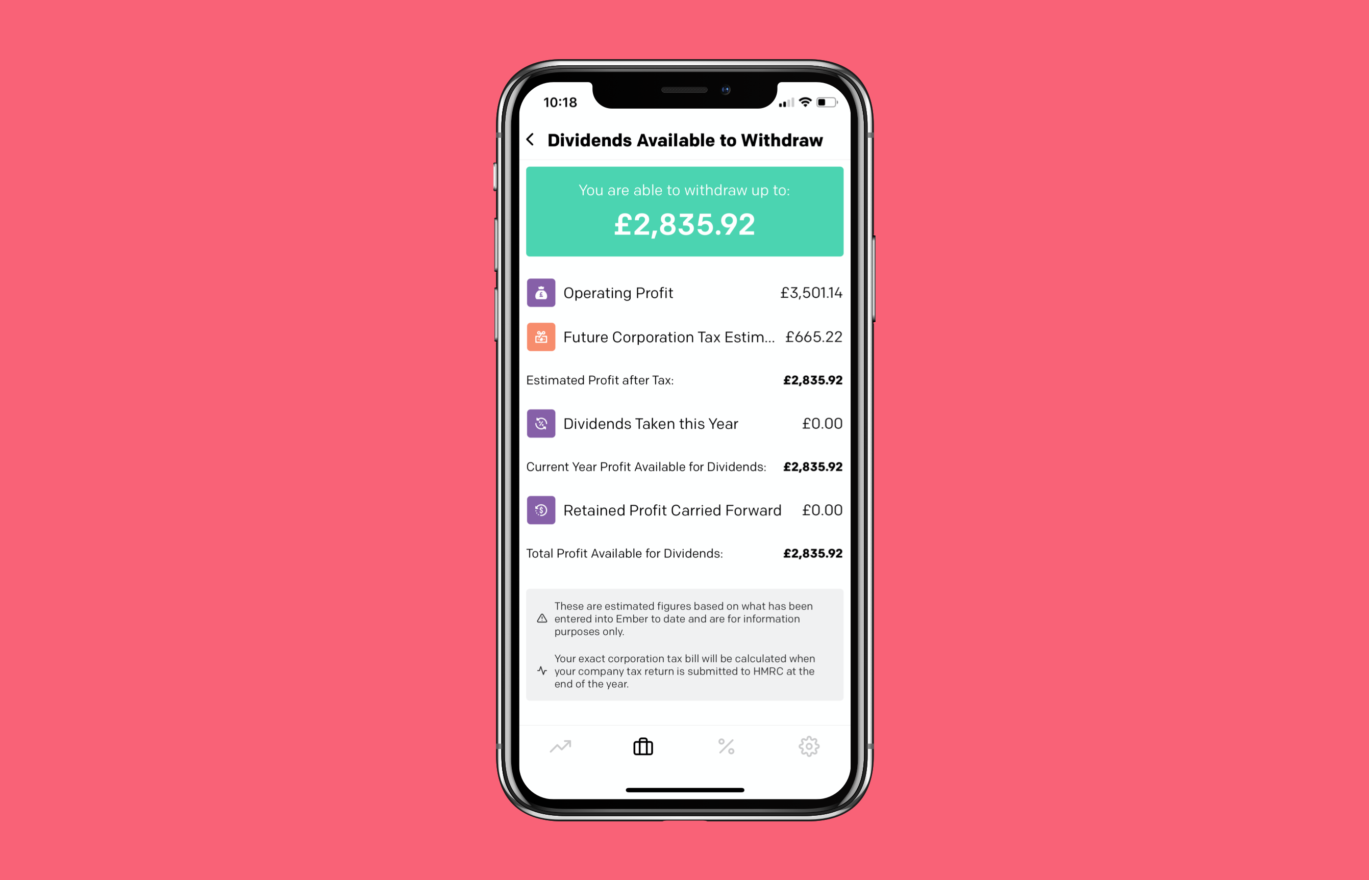 Dividends available to withdraw report on an iPhone screen