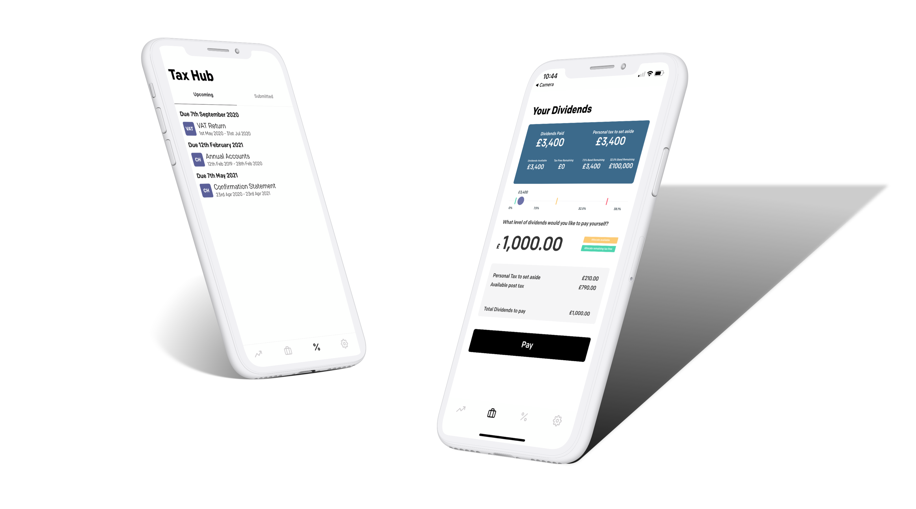 dividends and tax hub screens in Ember