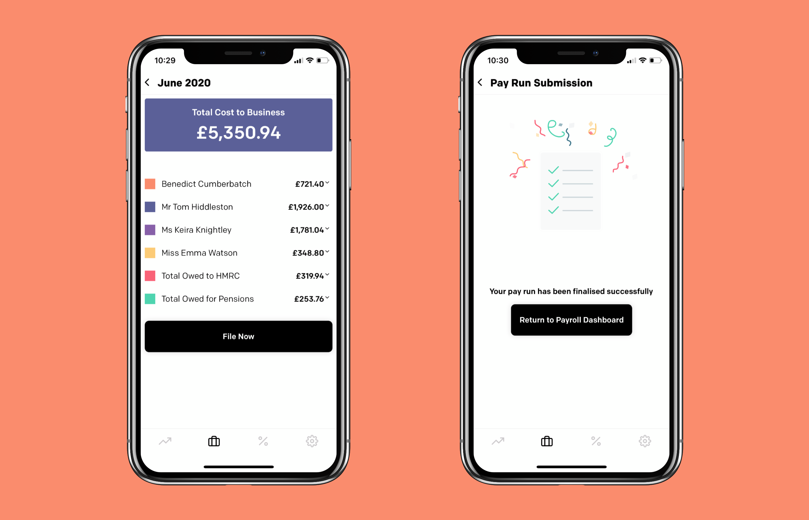 Screenshots of the app displaying payroll
