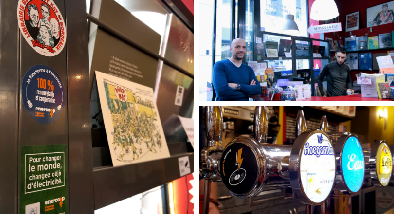 Matthieu et son collègue à KrazyKat, librairie BD à Bordeaux - Enercoop Nouvelle-Aquitaine