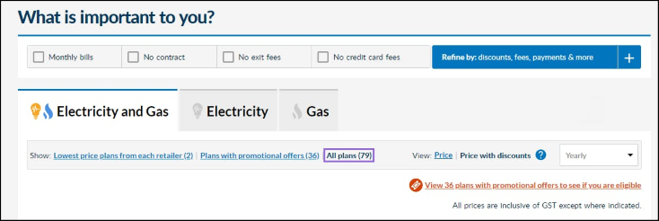 Image of Energy Made Easy plan search results page menu options with 'Show All plans' view link outlined.