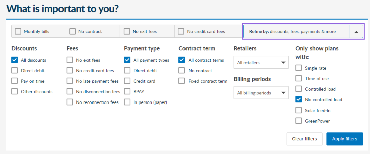 Energy Made Easy plan search results page default filter options, which have 'All discounts', 'All payment types', 'All contract terms' and 'No controlled load' checkboxes selected