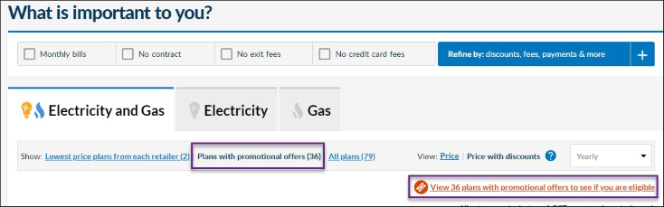 Image of Energy Made Easy plan search results page menu options with 'Show Plans with promotional offers' view link and promotional offers alert label outlined.