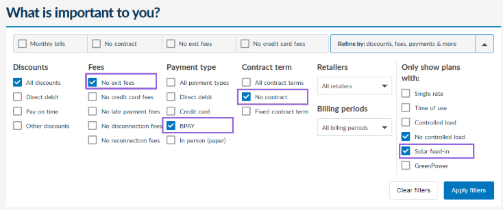 Energy Made Easy search results page filter options with only the 'All discounts', 'No exit fees', 'BPAY', 'No contract', 'No controlled load' and 'Solar feed-in' checkboxes selected.