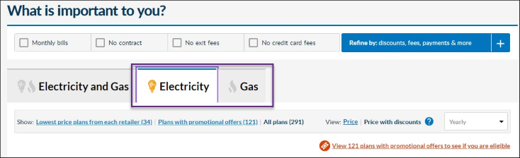 Image of Energy Made Easy plan search results page menu options with the individual 'Electricity' and 'Gas' plan view tabs outlined.