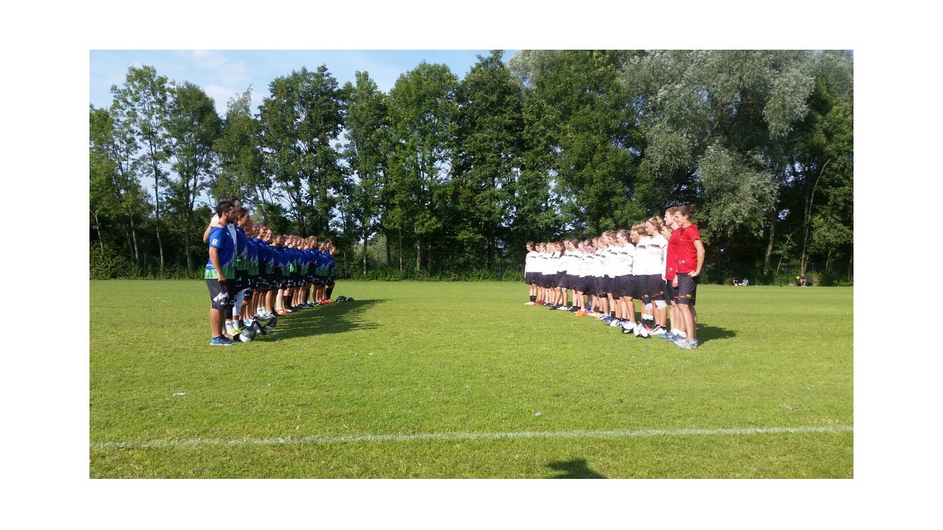 Slovenia and Germany singing their national anthems before their game at EYUC 2017