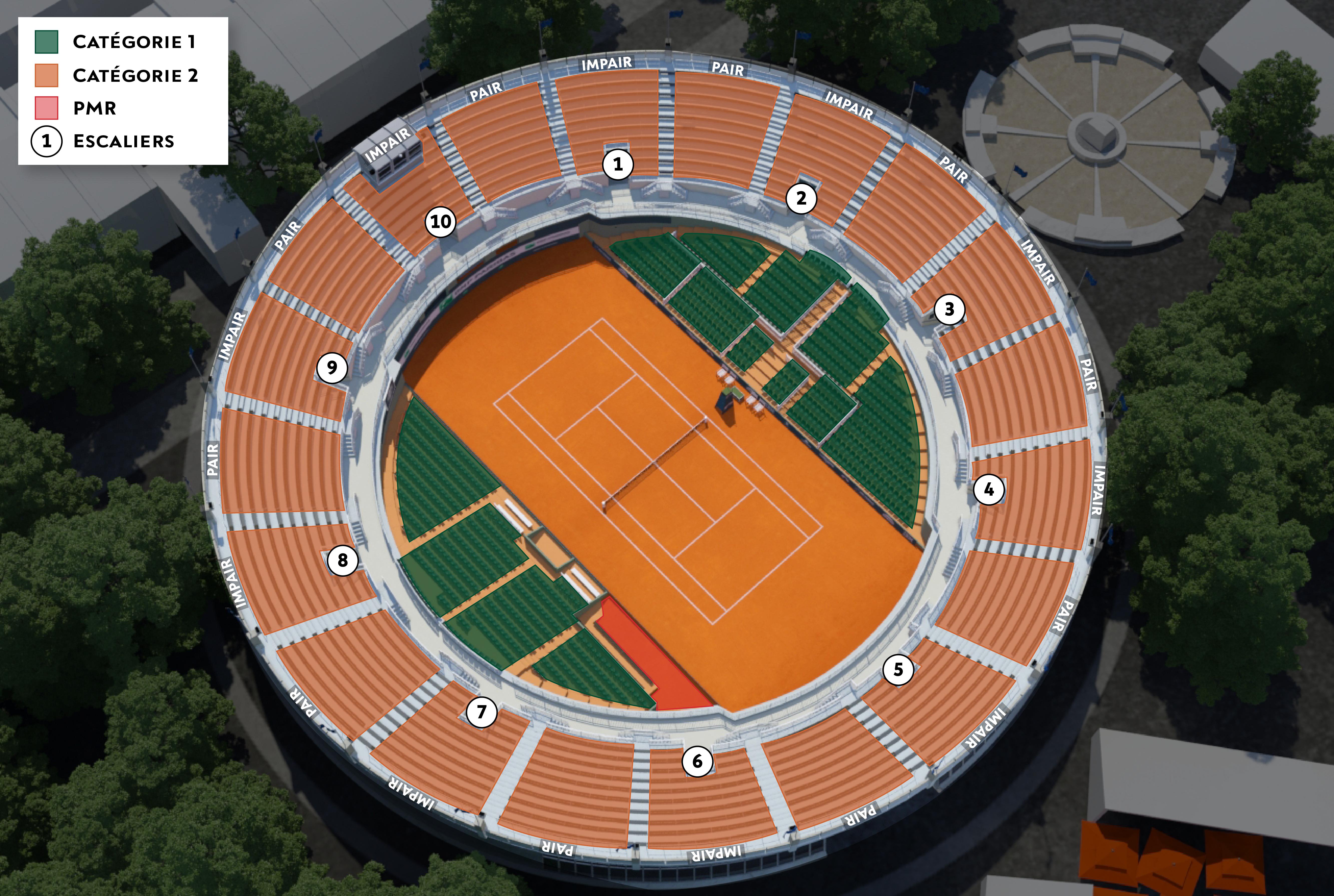 Roland garros 2017 plan e billet revente de billets for Prix d un court de tennis