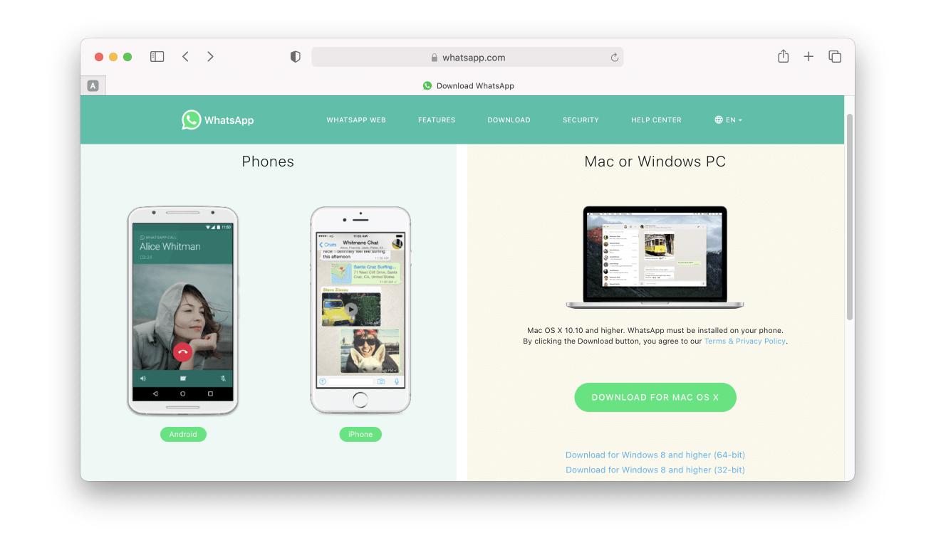 whatsapp website windows business desktop app