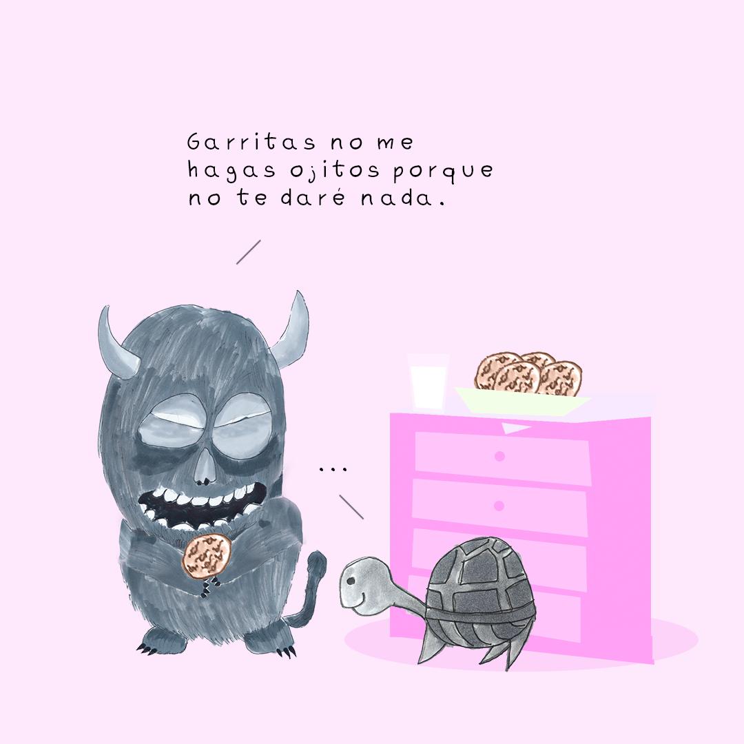Garitma, monstruo comiendo galletas hablando con tortuga, cómic dibujo marcador sobre papel