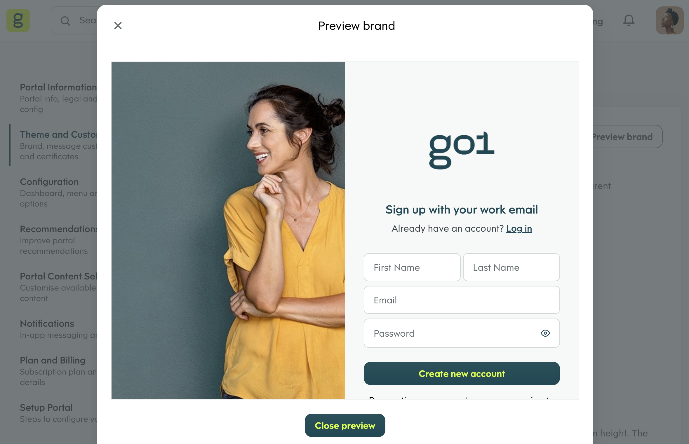 A screenshot showing your ability to preview your updates to your Go1 Platform branding before saving.