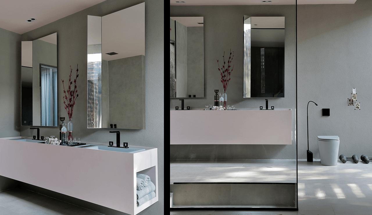 banheiro minimalista rosa