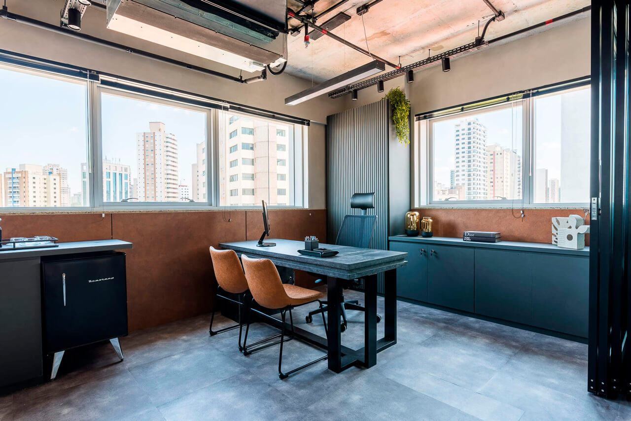 MDFs Bronze, Grafite e Marmo. Projeto: LBN Arquitetura e Construção. Foto: W&W Fotografia de Interiores