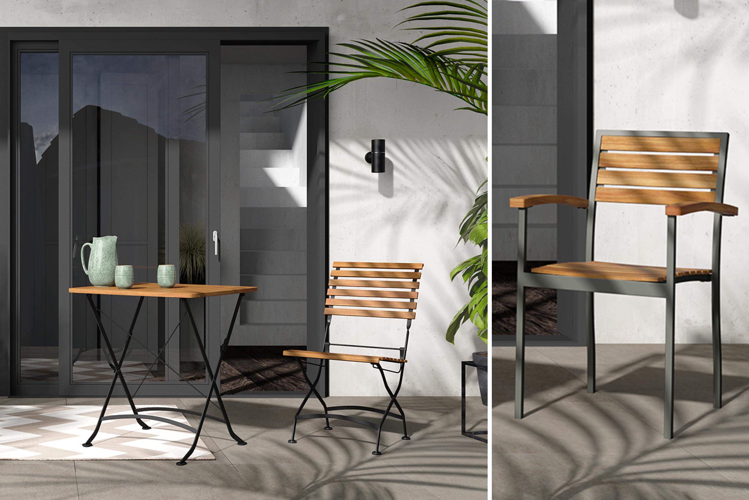Gartentisch aus Holz mit Metallgestell sowie passende Gartenstühle mit Metallbeinen