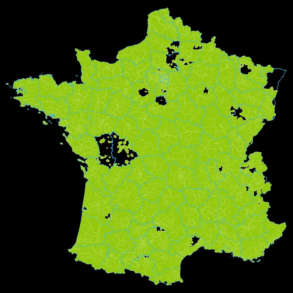 Carte de déploiement des compteurs Linky sur la France en 2021