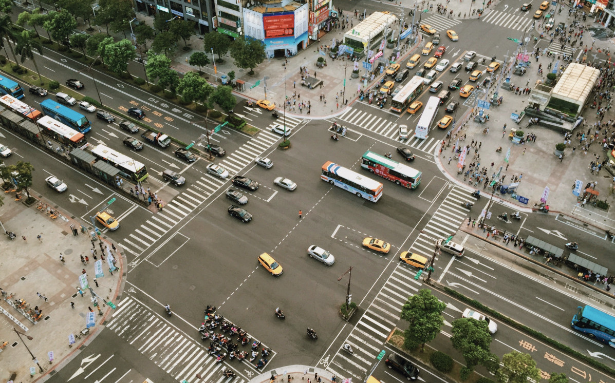 Busy city intersection asia