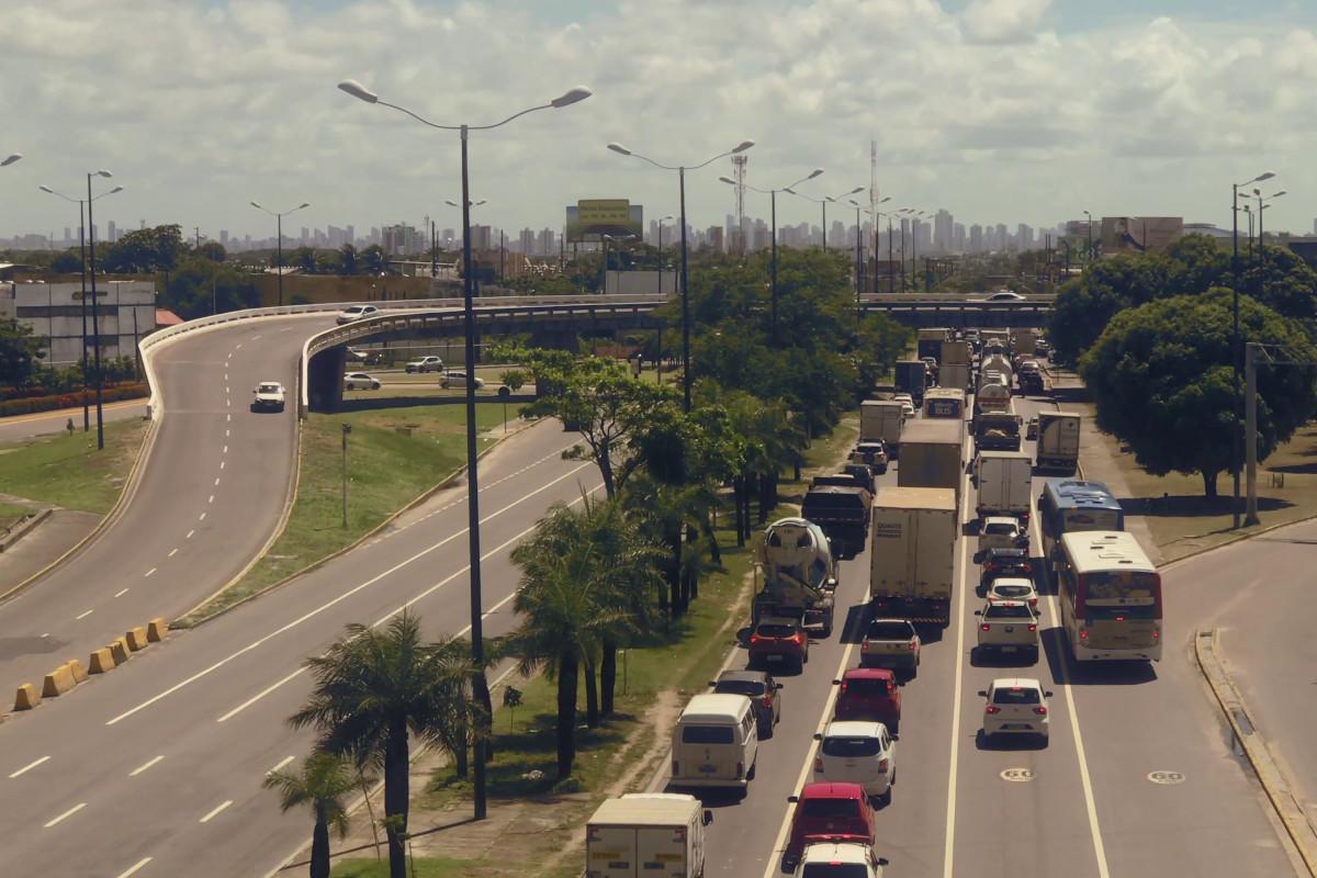 Highway traffic jam camera