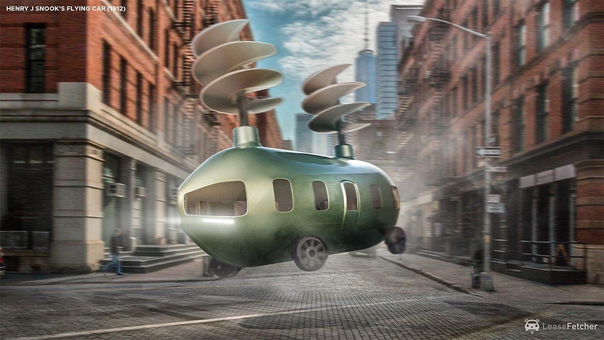Henry J Snook's flying car -1912