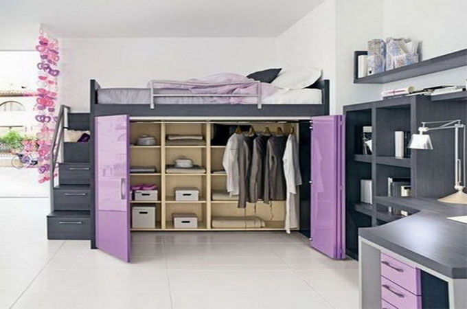 opter pour un dressing sous votre mezzanine. Black Bedroom Furniture Sets. Home Design Ideas