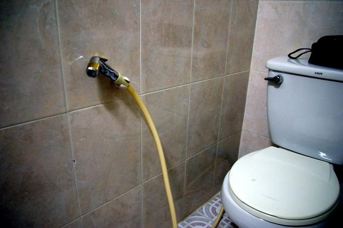 conna tre le co t et installation d un wc avec douchette. Black Bedroom Furniture Sets. Home Design Ideas