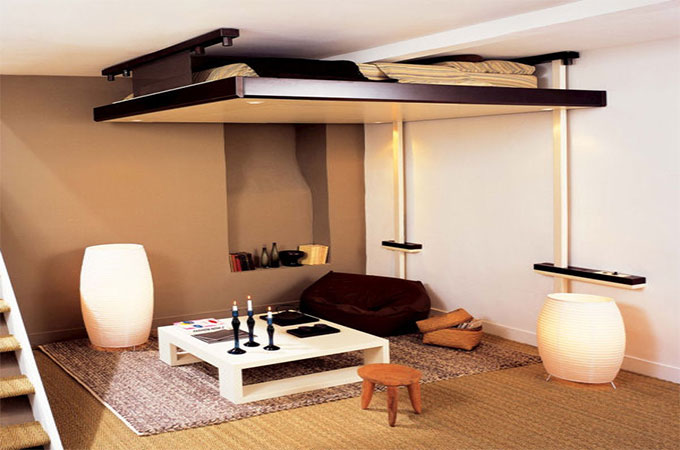 Prix d 39 un lit mezzanine escamotable ou electrique for Lit qui descend du plafond