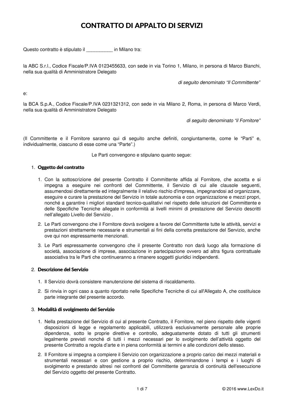 anteprima del nostro Contratto di Assistenza e Manutenzione