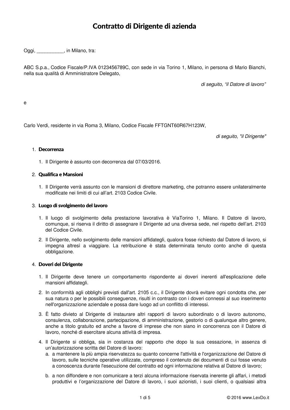 Contratto di lavoro per dirigenti - Contratto locazione uso foresteria fac simile ...