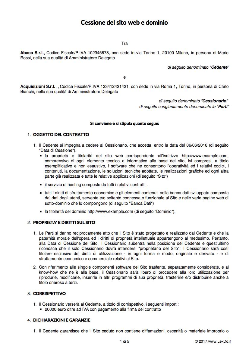 Contratto di vendita di un dominio web - Contratto locazione uso foresteria fac simile ...