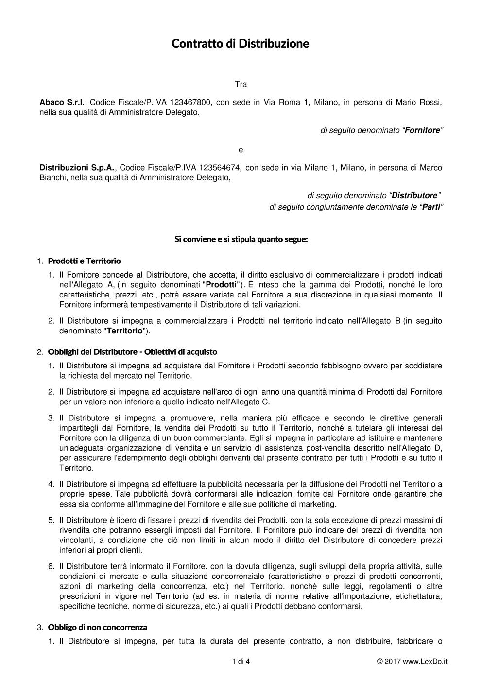 Contratto di distribuzione commerciale - Contratto locazione uso foresteria fac simile ...
