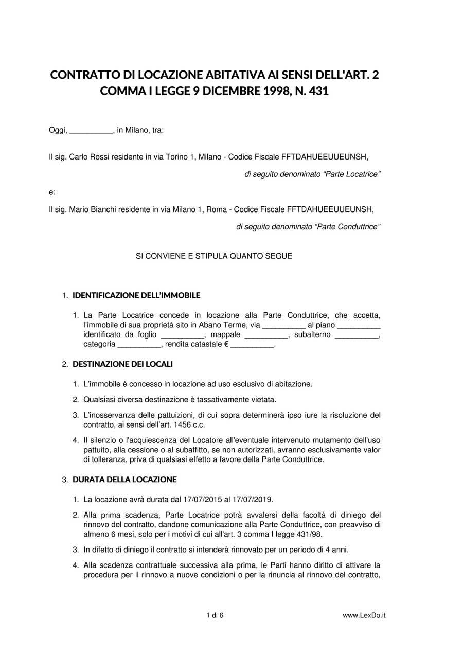 Contratto di locazione ad uso abitativo - Contratto casa in affitto ...