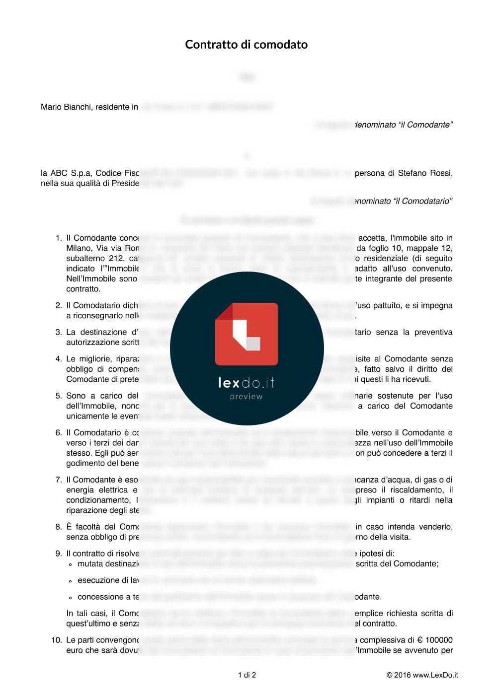anteprima del nostro Contratto di Comodato di Bene Mobile