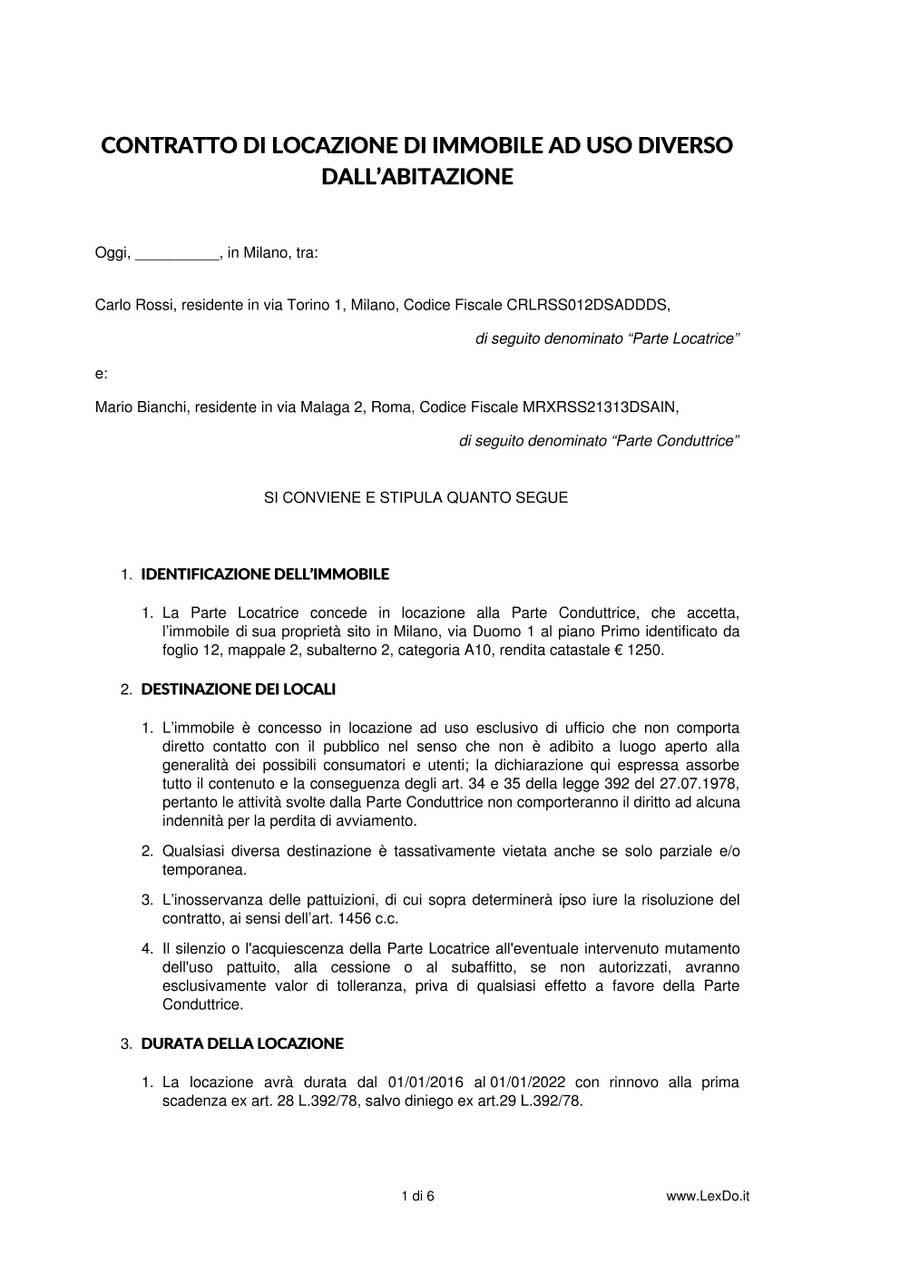 Contratto di locazione commerciale uso diverso dall for Affitto commerciale