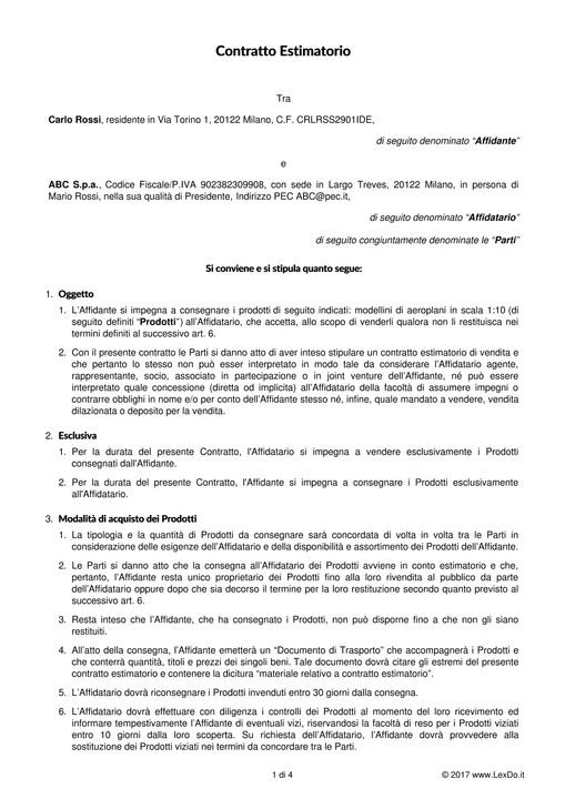 Contratto estimatorio conto vendita for Contratto di locazione 4 4 modello