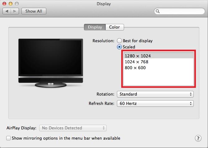 Mac display settings